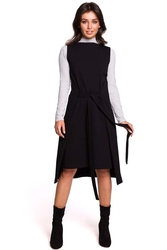 Czarna efektowna dresowa sukienka bez rękawów