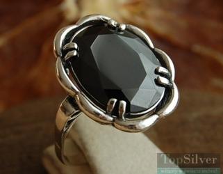Fado - srebrny pierścionek z onyksem