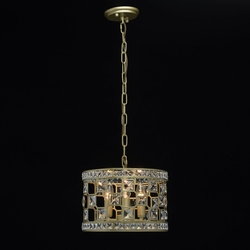 Złota lampa wisząca z kryształami, 3-żarówki mw-light crystal 121011503
