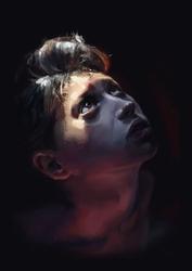 Portret chłopca - plakat premium wymiar do wyboru: 20x30 cm