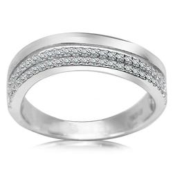 Staviori pierścionek. cyrkonia. srebro rodowane 0,925. szerokość obrączki ok. 5 mm. grubość 2 mm.