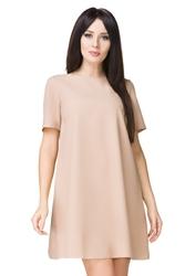 Beżowa trapezowa sukienka z krótkim rękawem t203