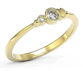 Pierścionek z żółtego złota z cyrkoniami swarovski bp-6811z-c - żółte  bp-6811z