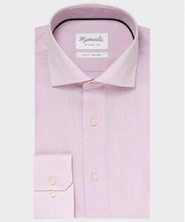 Elegancka różowa koszula ze splotem oxford Michaelis z kołnierzem włoskim 45