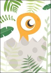Akuku dino pomarańczowy - plakat wymiar do wyboru: 21x29,7 cm