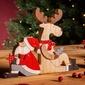 Figurka  ozdoba  dekoracja świąteczna drewniana święta boże narodzenie altom design mikołaj z reniferem 16 x 2 x 19,5 cm