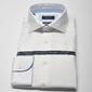 Elegancka biała koszula męska taliowana slim fit z błękitnymi wstawkami 45