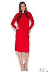Czerwona Wizytowa Sukienka z Wiązaniem na Plecach