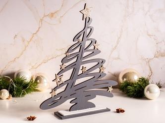 Figurka  ozdoba  dekoracja świąteczna drewniana święta boże narodzenie altom design choinka szara 28,5 x 6,5 x 36 cm