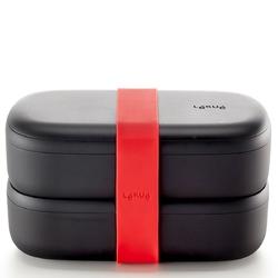 Pojemniki na posiłek 2 x 500 ml, silikonowa opaska limited to go lekue czarne 0301030g08m017