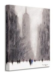 Heavy snowfall, 5th avenue - new york - obraz na płótnie