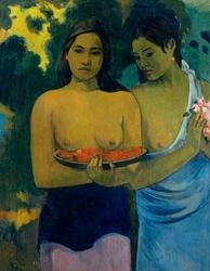 Two tahitian women, paul gauguin - plakat wymiar do wyboru: 21x29,7 cm