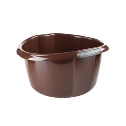Miska na pranie  łazienkowa z uchwytami plastikowa okrągła solidna bentom brązowa 15 l