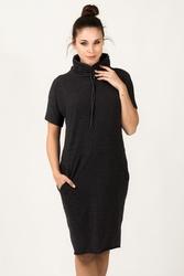 Dresowa sukienka z golfem irmina ciemnoszara