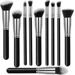 Zestaw 10 pędzli do makijażu, srebrno czarne profesjonalne