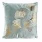 Aksamitna poduszka złote liście - miętowa