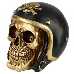 Złota czaszka w kasku - figurka dekoracyjna