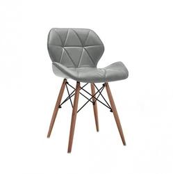 Nowoczesne krzesło tapicerowane skóra dsw szare