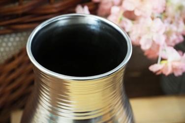 Wazon ceramiczny srebrny h - 24.5 cm okrągły