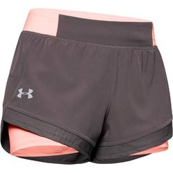 Spodenki krótkie damskie under armour qualifier speedpocket 2in1 short - szary