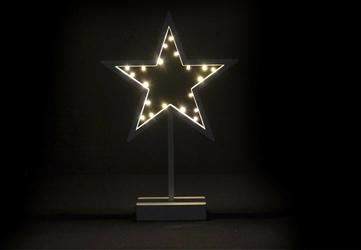 Gwiazda świąteczna na stojaku 20 led ciepła biel, na baterie