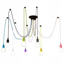 Kolorowa lampa loft żyrandol pająk oplot spider 8