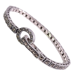 Verna srebrna bransoletka markazyty wąska kółko