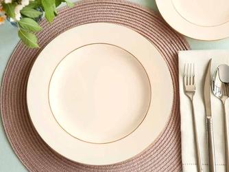 Talerz obiadowy płytki porcelana mariapaula nova ecru złota linia 26 cm
