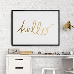 Hello - plakat ze złotym nadrukiem , wymiary - 60cm x 90cm, kolor ramki - czarny, kolor nadruku - złoty