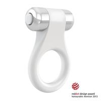 Wibrujący pierścień na penisa - ovo b1 vibrating ring  biały