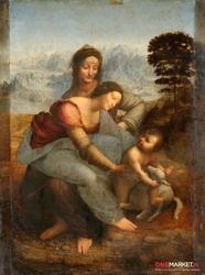 święta anna samotrzeć - leonardo da vinci ; obraz - reprodukcja