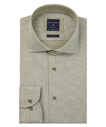 Ekstra długa zielona koszula profuomo w gęsty wzór slim fit 37