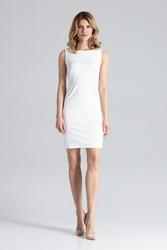 Ecru modna ołówkowa sukienka bez rękawów