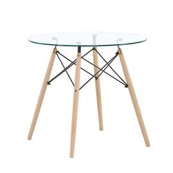 Nowoczesny skandynawski okrągły stół szklany 80cm
