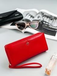 Pojemny portfel damski na zamek czerwony milano design - czerwony