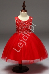 Czerwona sukienka z obfitą tiulową spódnicą dla dziewczynek