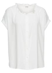 Bluzka z falbanką, oversized bonprix biały