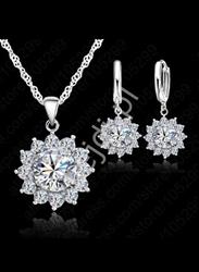 Zestaw biżuterii srebrnej 925, naszyjnik + kolczyki - prezent dla mamy, babci, kobiety