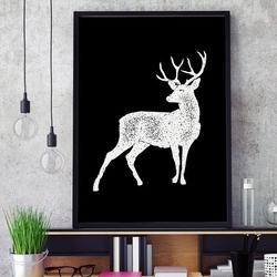 Jeleń - plakat w ramie w stylu skandynawskim , wymiary - 70cm x 100cm, kolor ramki - czarny