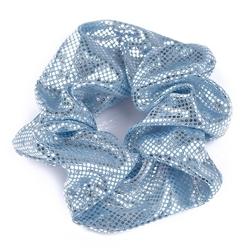 Gumka do włosów duża metaliczna błękitna scrunchie