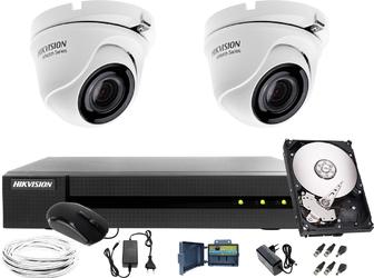 Telewizja przemysłowa do firmy, biura, domu hikvision hiwatch hwd-6104mh-g2, 2 x hwt-t120-m, 1tb, akcesoria