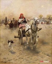przejażdżka - alfred wierusz-kowalski ; obraz - reprodukcja