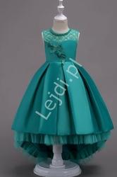 Szmaragdowa suknia dla dziewczynki z trenem na wesele