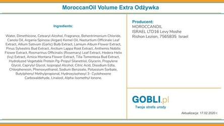 Moroccanoil volume extra odżywka dodająca objętości 1000ml