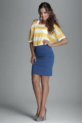 Niebieska prosta krótka spódnica z zaszewkami