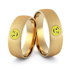 Obrączki ślubne emotki emalia - au-987