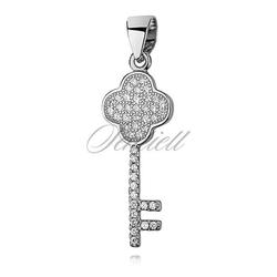 Srebrna zawieszka pr.925 kluczyk z cyrkoniami - koniczynka
