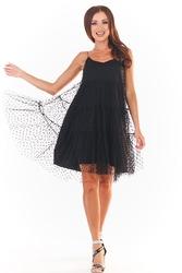 Czarna tiulowa sukienka w groszki na ramiączkach
