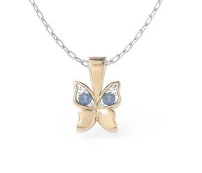 Wisiorek w kształcie motyla z różowego złota z niebieskimi cyrkoniami bpw-88p-r-c - różowe z rodowaniem