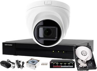 Tani zestaw do monitoringu domu, biura, mieszkania hikvision hiwatch rejestrator ip hwn-4104mh + 1x kamera fullhd hwi-t641h-z + akcesoria